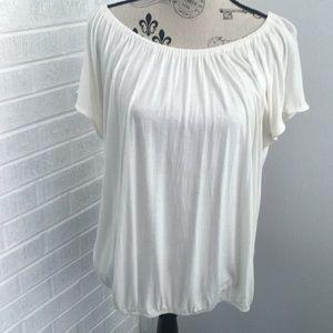 Creamy White Cap Sleeve Elastic Neck and Waistband